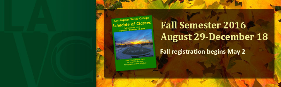 Fall 2016 Schedule now available