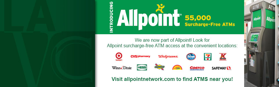 Introducing Allpoint. 55,000 surcharge-free ATMs. Visit allpointnetwork.com to find ATMs near you!