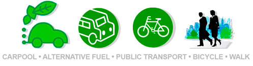 Carpool. Alternative fuel. Public transport. Bicycle. Walk
