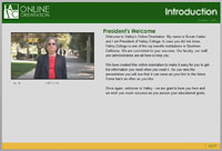 Screen view of the online orientation