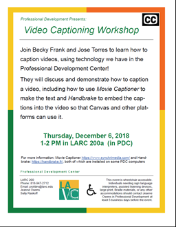 Video Captioning Workshop for Faculty/Staff
