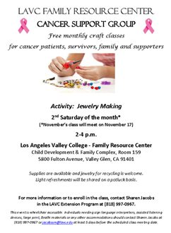 LAVC Cancer Support Group & Jewelry Making Craft Class