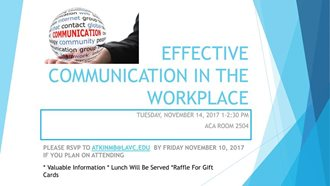 EAP Workshop - Effective Communication in the Workplace