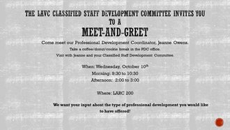 Classified Staff Meet-and-Greet with the LAVC Professional Development Coordinator