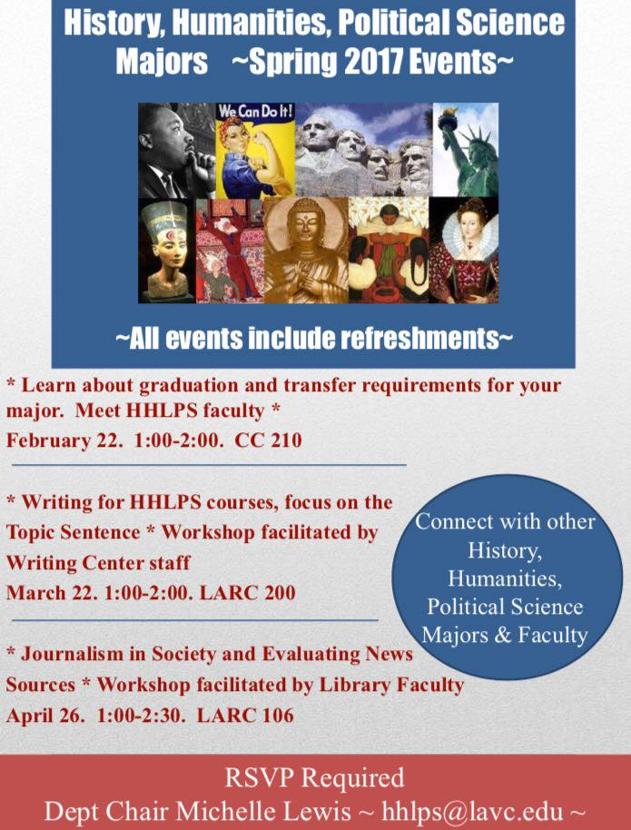 HHLPS Majors Spring 2017 Events