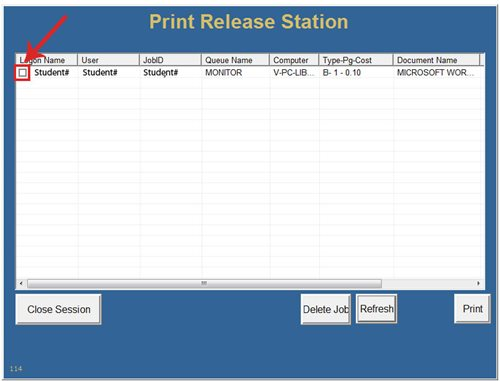 Print Release Station Screen