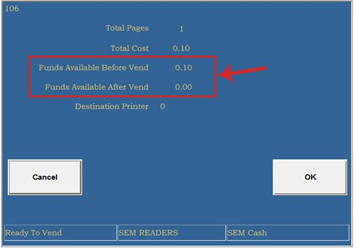 Print Release Station Screen: Page view after money has been given
