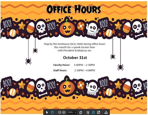 President Endrijonas October 2017 Faculty and Staff Office Hours