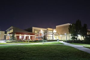Nighttime picture of Library & Academic Resources Center