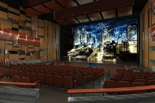 Rendering of the Theater inside the Performing & Media Arts Center