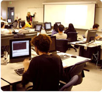 Students in classroom with laptops