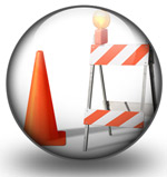 Construction cone and barricade graphic
