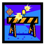 Flashing Construction Barricade Graphic